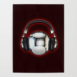 Headphone disco ball Poster