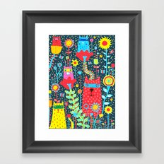 Cats & Flowers Framed Art Print