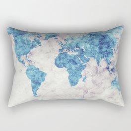 world map 52 blue Rectangular Pillow