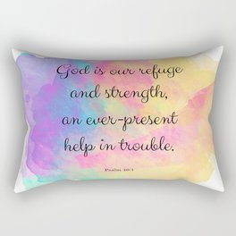 Psalm 46:1, God is our Refuge, Scripture Quote Rectangular Pillow