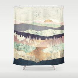Golden Spring Reflection Shower Curtain
