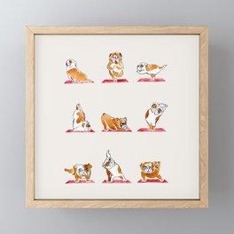 English Bulldog Yoga Watercolor Framed Mini Art Print