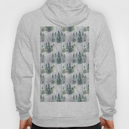 Watercolor forest green snow Christmas pine tree Hoody