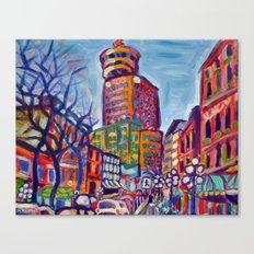 Harbour Centre From Gastown, Vancouver Canvas Print