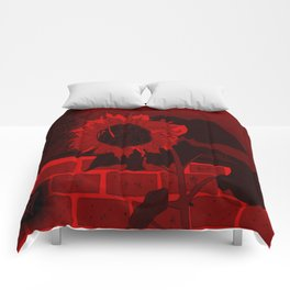 Thee Sunflower in Red by Mgyver Comforters