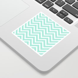 Chevron Stripes : Seafoam Green & White Sticker