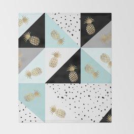 Pastel color block watercolor dots faux gold pineapple Throw Blanket