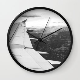 Mountain State // Colorado Rocky Mountains off the Wing of an Airplane Landscape Photo Wall Clock