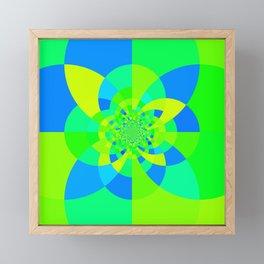 Green & Turquoise Kaleidoscope Design Framed Mini Art Print