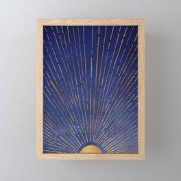 Twilight / Blue and Metallic Gold Palette Framed Mini Art Print