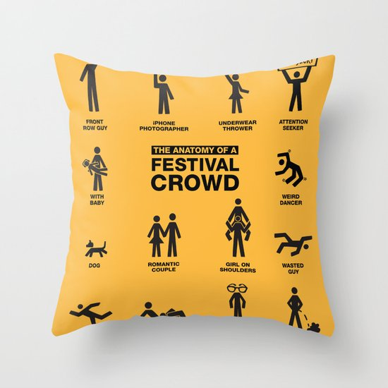 The Anatomy of a Festival Crowd Throw Pillow