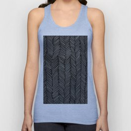 Herringbone Cream on Black Unisex Tank Top