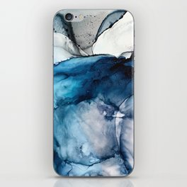 White Sand Blue Sea - Alcohol Ink Painting iPhone Skin