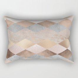 Copper and Blush Rose Gold Marble Argyle Rectangular Pillow
