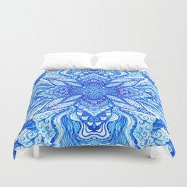 watercolor blue mandala Duvet Cover