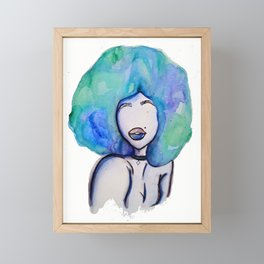 Afro watercolor babe cool Framed Mini Art Print