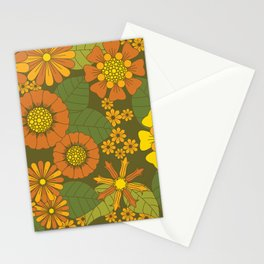 Orange, Brown, Yellow and Green Retro Daisy Pattern Stationery Cards