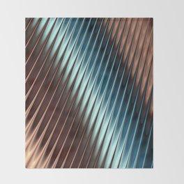 Stripey Pins Teal & Taupe - Fractal Art Throw Blanket