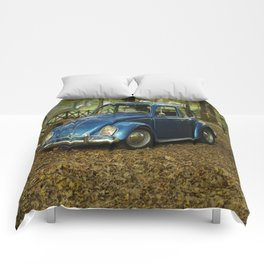 blue car Comforters