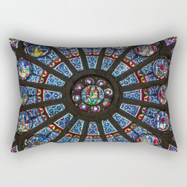 STAINED GLASS Notre Dame Cathedral Paris France Rectangular Pillow