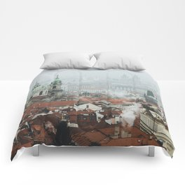 Cold Mornings over Prague Comforters