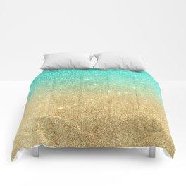 Aqua teal abstract gold ombre glitter Comforters