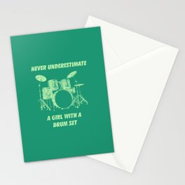 Never Underestimate A Girl With A Drum Set Funny Drums Vintage Drummer Distressed Stationery Cards