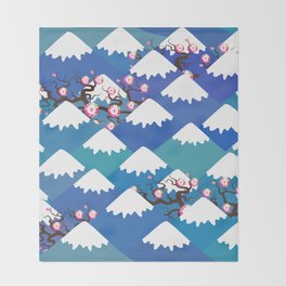 Spring Nature background with Japanese cherry blossoms, sakura pink flowers landscape. blue mountain Throw Blanket