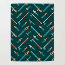 Wild Weapons Swords and Knives Pattern Poster