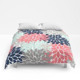 Flower Burst Petals Floral Pattern Navy Coral Mint Gray Comforters