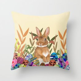 Bunny in garden with colored Easter eggs Throw Pillow