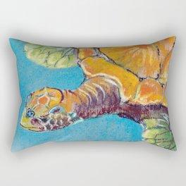 Water turtle in the ocean. pastel. Rectangular Pillow