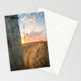 Late December - Western Scene of Fence Post and Sunset Stationery Cards