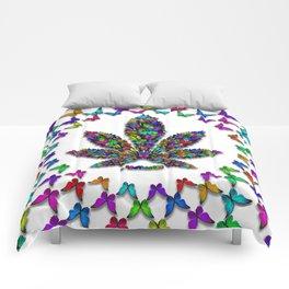 Butterflies Cannabis Leaf 2 Comforters