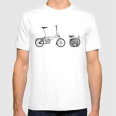 Brompton Bicycle Mens Fitted Tee White MEDIUM