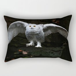 Snowy Owl With Open Wings Rectangular Pillow