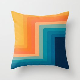 Retro 70s Color Lines Throw Pillow
