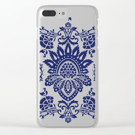 damask blue and white Clear iPhone Case