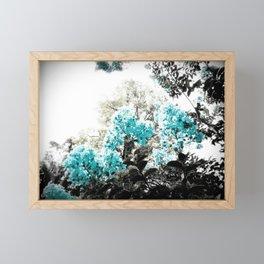 Turquoise & Gray Flowers Framed Mini Art Print