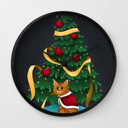 Guilty Christmas Kitty Wall Clock