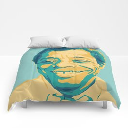 James Baldwin Portrait Teal Gold Blue Comforters