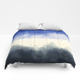 Abstract watercolor navy blue gray ivory ombre Comforters