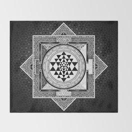 Sri Yantra Black & White Sacred Geometry Mandala Throw Blanket