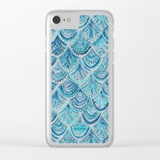 NAVY LIKE A MERMAID Fish Scales Watercolor Clear iPhone Case