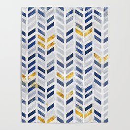 Herringbone chevron pattern.Indigo faux gold acrylic canvas Poster