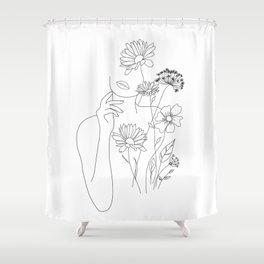 Minimal Line Art Woman with Flowers III Shower Curtain