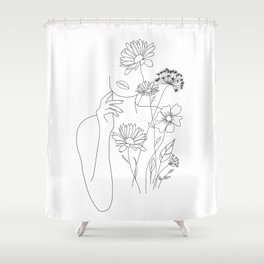 Minimal Line Art Woman with Flowers III Shower Curtain