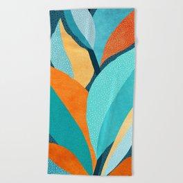 Abstract Tropical Foliage Beach Towel