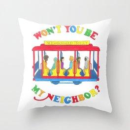 Mister Rogers Neighborhood Trolley Throw Pillow