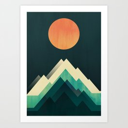 Ablaze on cold mountain Art Print